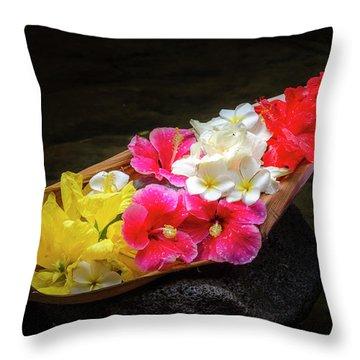 Flower Boat Throw Pillow