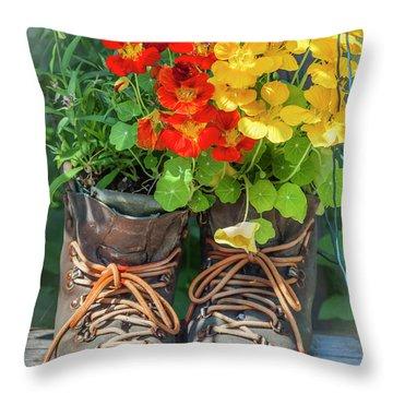 Flower Boots Throw Pillow