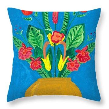 Flower Bowl Throw Pillow