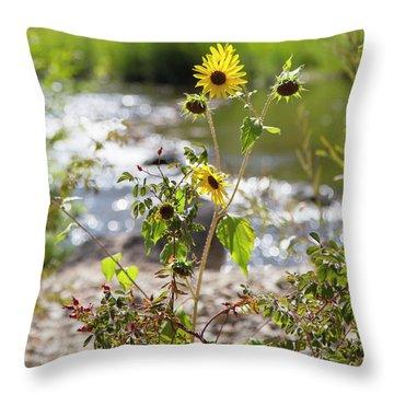 Flower By Stream Throw Pillow