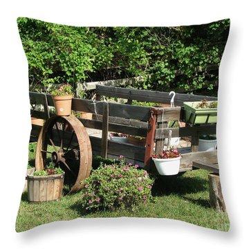 Flower Cart Throw Pillow