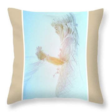 Throw Pillow featuring the painting Flower Child by Gertrude Palmer