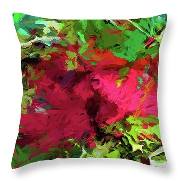 Flower Christmas Red Green Pink Throw Pillow