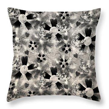 Flower Clown Pattern In Black Throw Pillow