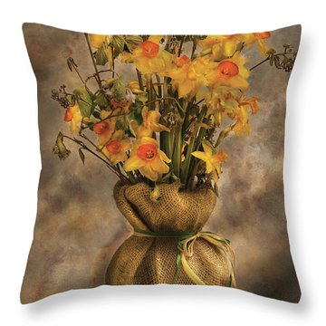 Flower - Daffodils In A Burlap Vase Throw Pillow by Mike Savad