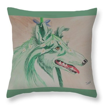 Throw Pillow featuring the painting Flower Dog # 11 by Hilda and Jose Garrancho
