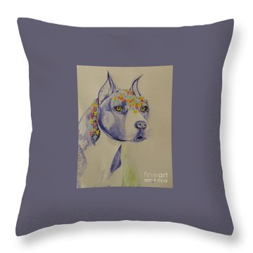 Flower Dog 1 Throw Pillow
