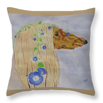Throw Pillow featuring the painting Flower Dog 10 by Hilda and Jose Garrancho