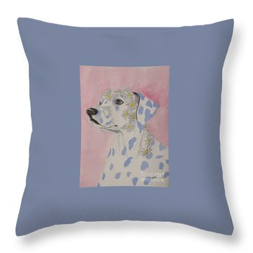 Throw Pillow featuring the painting Flower Dog 2 by Hilda and Jose Garrancho