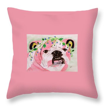 Throw Pillow featuring the painting Flower Dog 3 by Hilda and Jose Garrancho