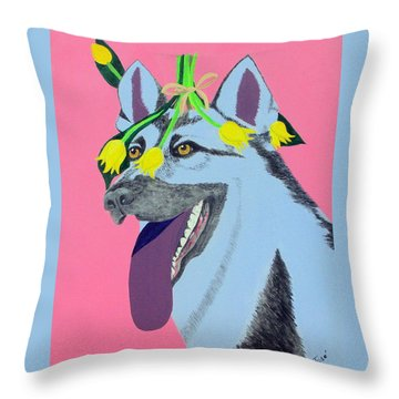 Throw Pillow featuring the painting Flower Dog 4 by Hilda and Jose Garrancho