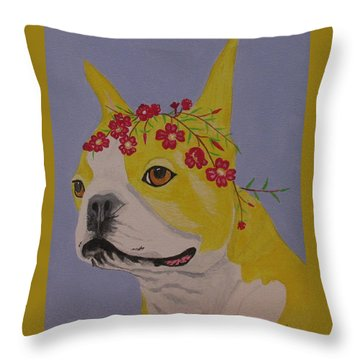 Throw Pillow featuring the painting Flower Dog 5 by Hilda and Jose Garrancho