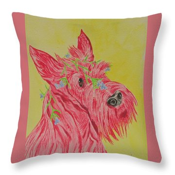 Throw Pillow featuring the painting Flower Dog 6 by Hilda and Jose Garrancho