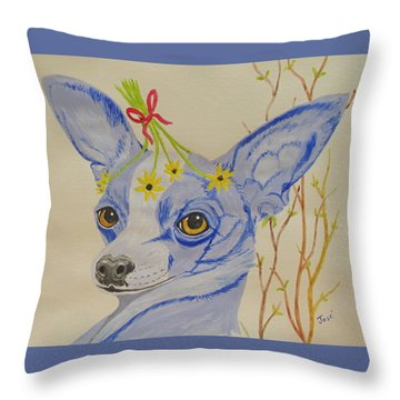 Throw Pillow featuring the painting Flower Dog 7 by Hilda and Jose Garrancho