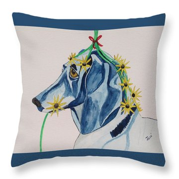 Throw Pillow featuring the painting Flower Dog 8 by Hilda and Jose Garrancho