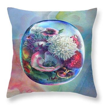 Flower Drop Blues Throw Pillow