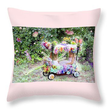 Flower Fairies In A Flower Mobile Throw Pillow