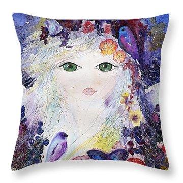 Flower Fairy Throw Pillow by Nino Gabashvili