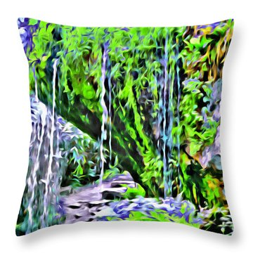 Flower Falls Throw Pillow