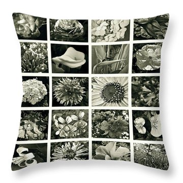 Flower Favorites Bw Throw Pillow by Gwyn Newcombe