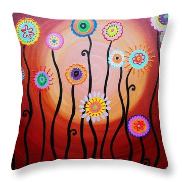 Throw Pillow featuring the painting Flower Fest by Pristine Cartera Turkus
