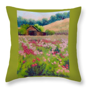 Flower Field Throw Pillow by Nancy Jolley