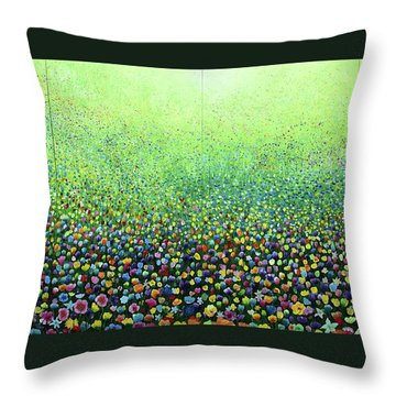 Flower Field Riot Throw Pillow by Geoff Greene