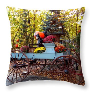 Flower Filled Wagon Throw Pillow