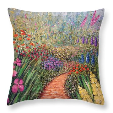 Flower Gar02den  Throw Pillow