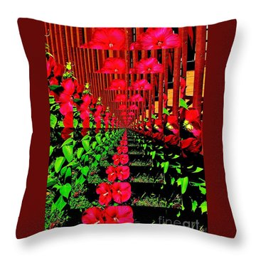 Flower Garden Abstract Throw Pillow by Marsha Heiken