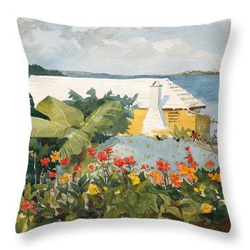 Flower Garden And Bungalow Throw Pillow