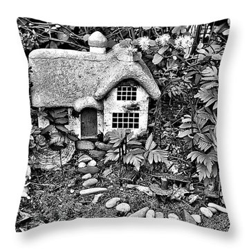 Flower Garden Cottage In Black And White Throw Pillow