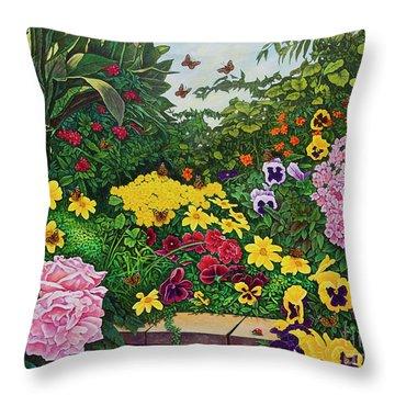 Flower Garden Xii Throw Pillow by Michael Frank