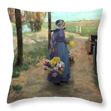 Flower Girl In Holland Throw Pillow by George Hitchcock