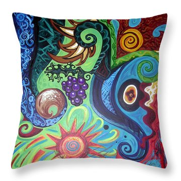 Flower Goyle With Grapes Throw Pillow by Genevieve Esson