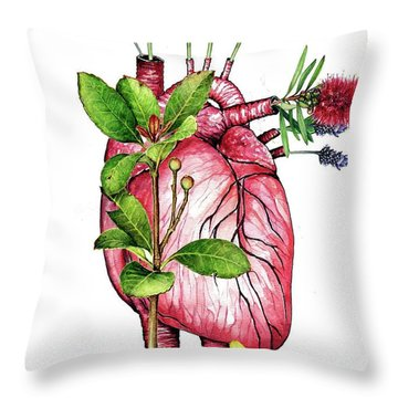 Flower Heart Throw Pillow by Heidi Kriel