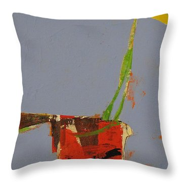 Throw Pillow featuring the painting Flower In Pitcher- Abstract Of Course by Cliff Spohn