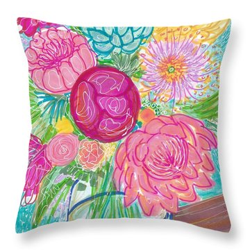 Flower In Vase Throw Pillow