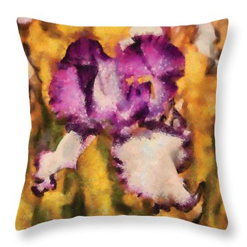 Flower - Iris - Diafragma Violeta Throw Pillow by Mike Savad