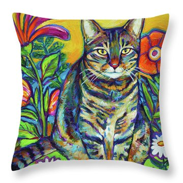 Throw Pillow featuring the painting Flower Kitty by Robert Phelps