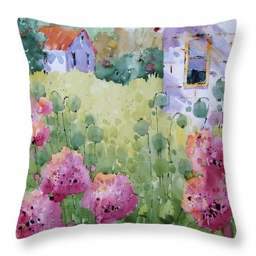 Flower Lady's Poppies Throw Pillow