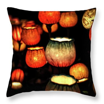 Flower Lamps Throw Pillow