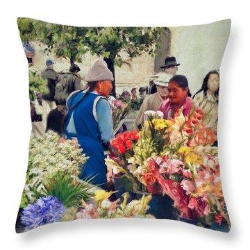 Flower Market - Cuenca - Ecuador Throw Pillow