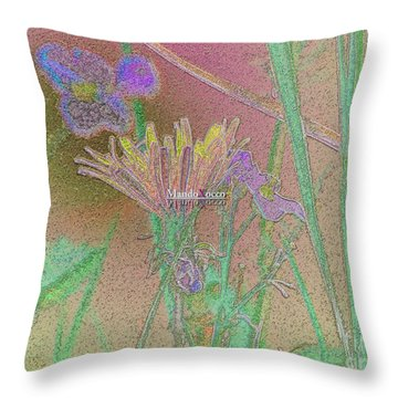 Flower Meadow Line Throw Pillow