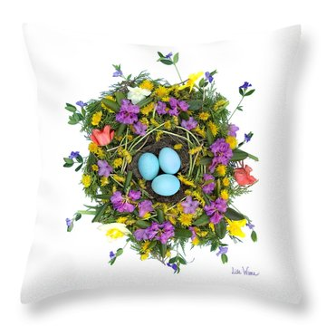 Flower Nest Throw Pillow