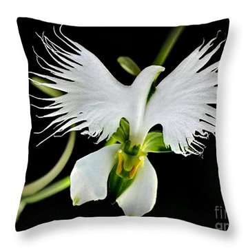 Flower Oddities - Flying White Bird Flower Throw Pillow