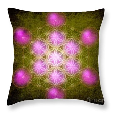 Flower Of Life In Green Throw Pillow