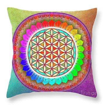 Flower Of Live - Rainbow Lotus 1 Throw Pillow