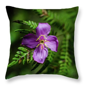 Flower On The Fern Throw Pillow