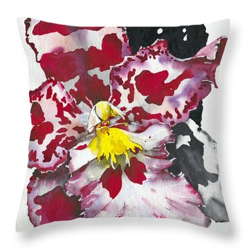 Flower Orchid 11 Elena Yakubovich Throw Pillow by Elena Yakubovich